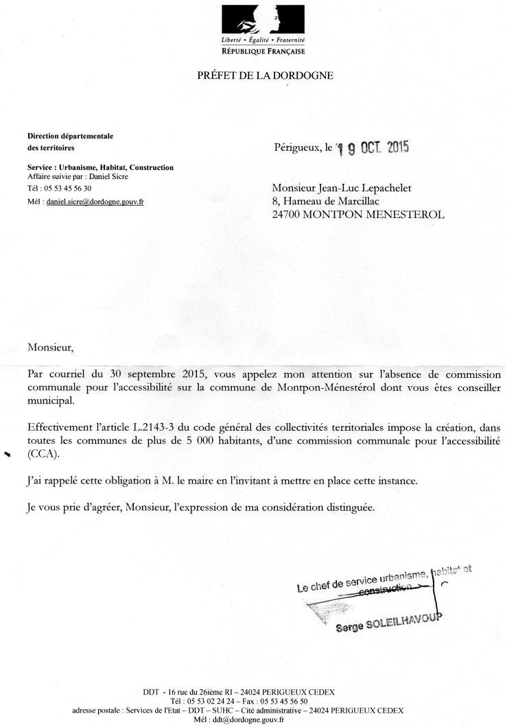 lettre de la préfecture pour la création de la com accéssibilité
