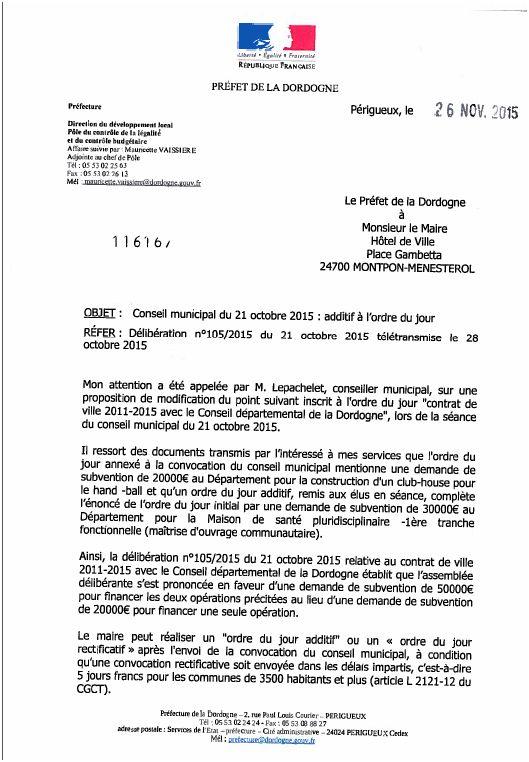 lettre prefecture 26 novembre