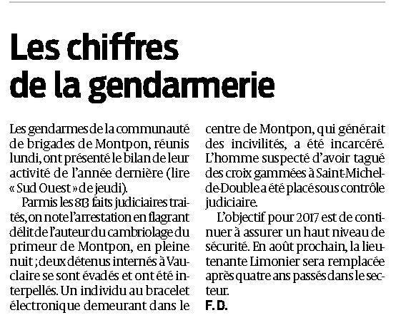 les chiffres gendarmerie 2016