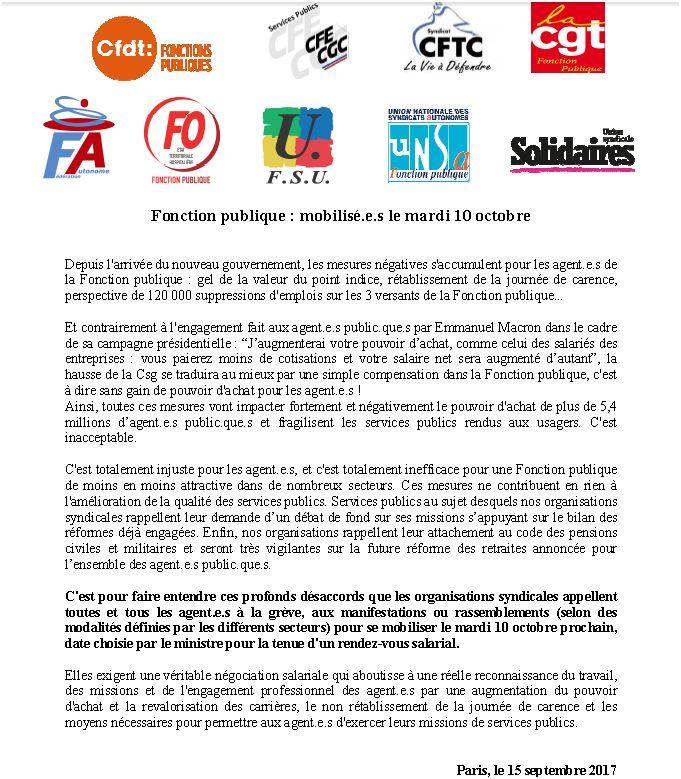 grève 10 octobre