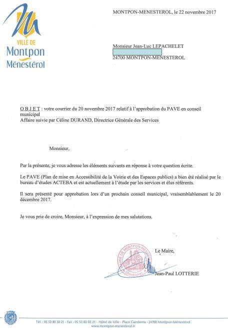 réponse pave 22 nov 2017