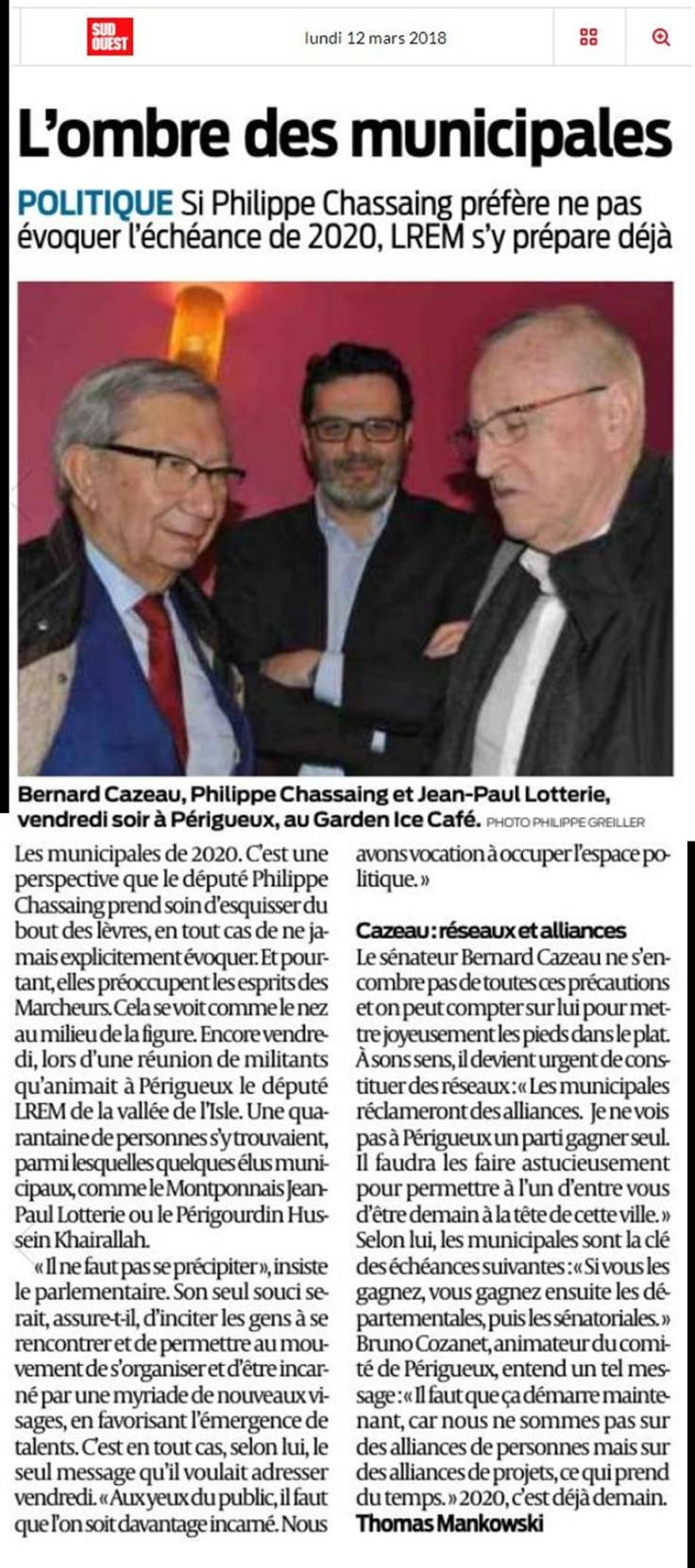 article sud ouest municipales lrem