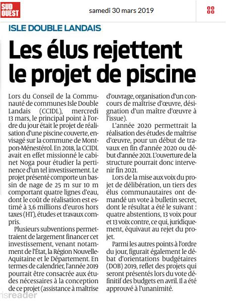 article sudouest piscine
